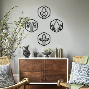 Elements of Nature | 4 Elements Metal Wall Decor Set | WATER, AIR, FIRE, EARTH - Hencely