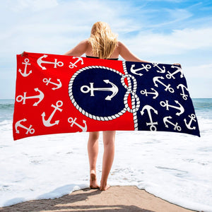 Anchor Beach Towel Red and Blue - Hencely