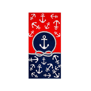 Anchor Beach Towel Red and Blue