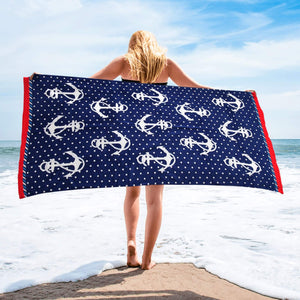 Spotty Anchors | Beach Towel | %100 Turkish Cotton | Soft & Absorbent | Regular Thickness - Hencely
