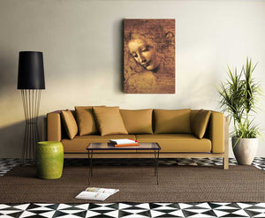 La Scapigliata by Leonardo Da Vinci, Wall Art Painting, Modern Home Decor Hanging for Art Lovers - Hencely