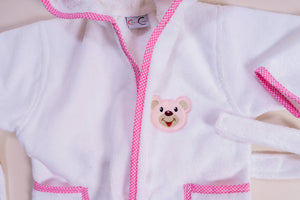 Pink Teddy Bear Bathrobe | Baby Towel Set