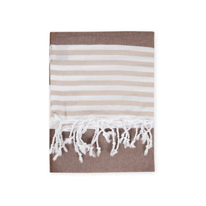 Striped Beach Towel Brown - Peshtemal Light Turkish Towel - Hencely