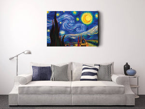 Starry Night by Van Gogh | Van Gogh Fine Art Reproduction | Starry Night Canvas Art Deco Painting - Hencely