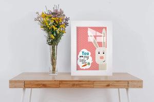 You Are My Little Carrot | Bunny Framed Glass Art | Framed Wall Hanging For Kidsroom - Hencely
