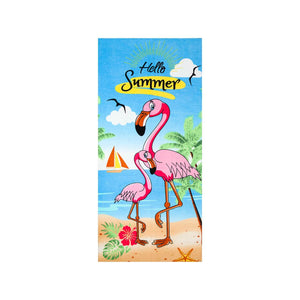 Pink Flamingo Hello Summer Beach Towel - Hencely