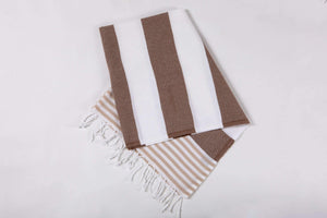 Bold Stripes brown beach towel hencely