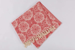 Red jacquard Beach Towel - Hencely