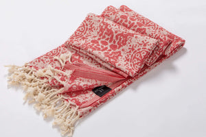 Red Lightweight jacquard beach towel - Hencely