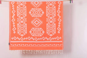 Serviette de plage tapis aztèque orange