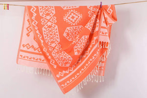Aztec Rug% 100 Turkish Cotton Serviette de plage couleur orange