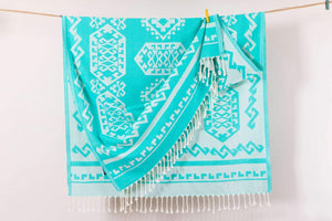 Aztec Rug | Beach Towels | %100 Turkish Cotton | 5 Colors | Lightweight Beach Throw Up - Hencely
