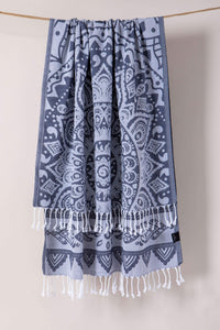 The Mandala | Beach Towel | Soft Gray | %100 Turkish Cotton | Super Soft  & Quick Dry - Hencely