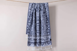 Hencely Mandala Design Gray Beach Towel - Hencely