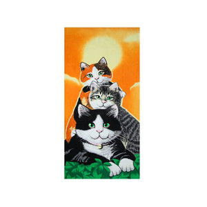 Cat Family Cute Colorful Beach Towel - Hencely