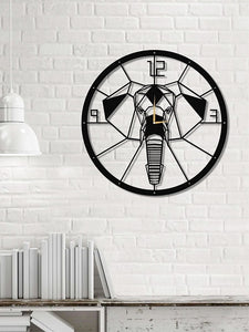 The Elephant | Round Wall Clock | Metal Hanging Clock - Hencely