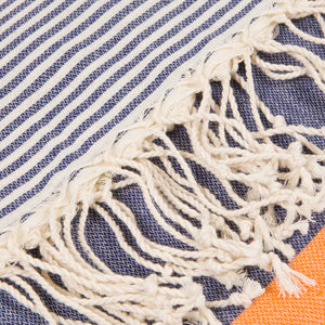 Striped Beach Towel Orange and Navy Blue - Peshtemal Light Turkish Towel - Hencely