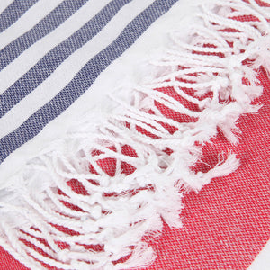 Striped Beach Towel Red - Peshtemal Light Turkish Towel - Hencely