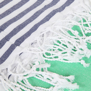 Green Striped Beach Towel Peshtemal - Hencely