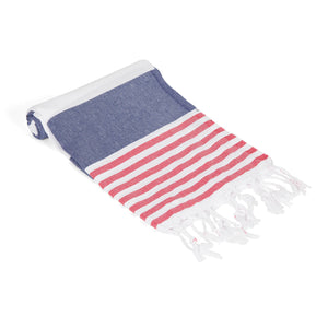 Striped Beach Towel Navy Blue - Peshtemal Turkish Towel - Hencely