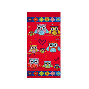 Owls | Kids Beach Towel | % 100 Turkish Cotton | Regular Thickness | Highly Absorbent - Hencely