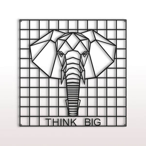 "El elefante | Panel de pared de rejilla metálica | Organizador de pared | Tablero ""Think Big"" - Por lo tanto"