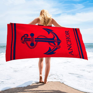 THE GREAT ANCHOR | Beach Towel | % 100 Turkish Cotton | Regular Thickness | Highly Absorbent - Hencely