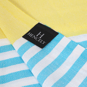 Striped Beach Towel Yellow Turquoise