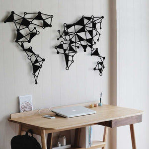 Abstract World Map Metal Wall Decor and Wall Panel for Home and Office Decoration - Hencely