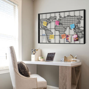 Grid Shaped Metal World Map Wall Hangings Minimal Modern Wall Art Decor Organizer - Hencely