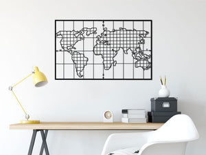 Grid Shaped Metal World Map Wall Hangings - Hencely