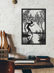Wandering In Woods | Women Figure Metal Wall Decor | Woods Metal Wall Panel - Hencely
