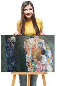 """Gustav Klimt-Life & Death"" Art Reproduction, Art Deco Painting & Canvas Wall Hanging - Hencely"