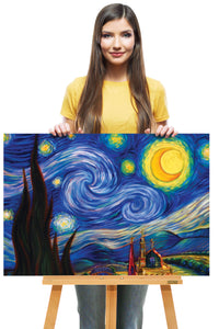 """Starry Night-Van Gogh"" Canvas Reproduction, Canvas Painting Wall Decor & Art Deco Painting - Hencely"