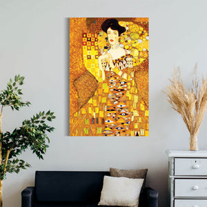 """Lady In Gold Dress""by Gustav Klim, Canvas Art Reproduction & Canvas Print Wall Decor - Hencely"