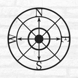Compass Metal Wall Art   Round Metal Wall Hanging - Hencely