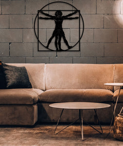 Da Vinci's Vitruvian Man Metal Wall Art - Metal Wall Decor - Hencely