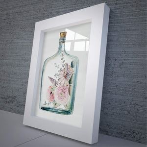 Floral Glass Framed Art & Flowers Wall Hanging - Hencely
