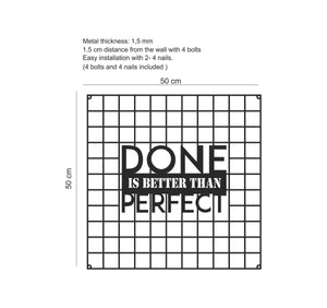 """Done Is Better Than Perfect"" Metal Grid Wall Panel & Inspirational Pegboard - Hencely"