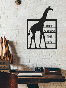 Think Outside The Box Giraffe Figure Wall Art Inspirational Metal Wall Panel - Hencely