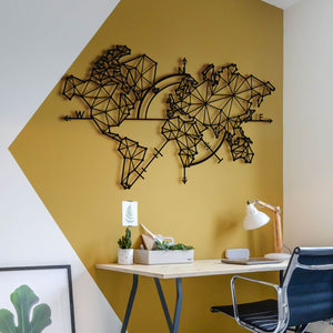 Abstract World Map | Decorative Wall Panel | World Map Wall Hanging - Hencely