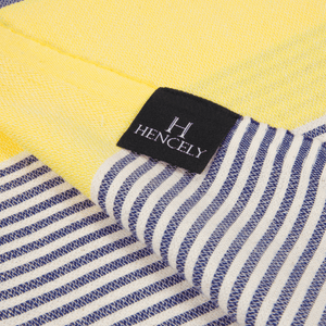 Striped Beach Towel Yellow and Navy Blue - Peshtemal Light Turkish Towel - Hencely