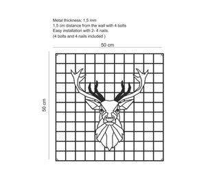 Deer | Metal Grid Wall Panel | Decorative Pegboard | Wall Organizer - Hencely