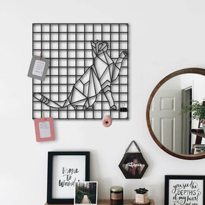 The Cat | Metal Grid Wall Panel Decor | Cat Lover Pegboard - Hencely