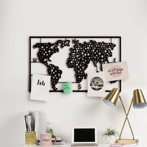 Metal World Map Peg Board Large - Metal Wall Decor Black Color 120 x 68 x 4 cm - Hencely