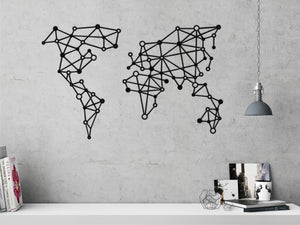 Geometric Metal World Map Wall Art & Metal Wall Sign - Hencely