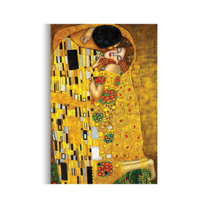 Gustav Klimt's The Kiss  Canvas Art Reproduction  - Hencely
