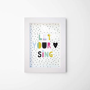 Let Your Heart Sing | Framed Glass Art |  Inspirational Framed Wall Decor - Hencely