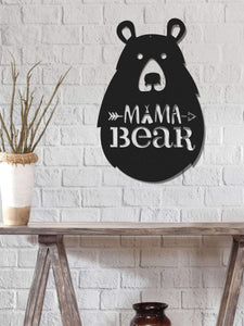 Mama Bear  Decorative Metal Wall Art Black Wall Decor - Hencely