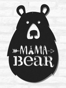 Mama Bear Wall Art & Bear Figure Black Wall Decor - Hencely